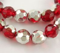40 x 8mm Round Red Silver Plated,Faceted Glass Beads